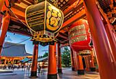 Paper lanterns at the entrance of Sensoji (Asakusa Kannon Temple) Asakusa, Tokyo, Japan
