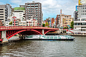 """Tourist ship """"Himiko"""" of Tokyo Cruise Line on the Sumida River at Asakusa in downtown Tokyo, Japan"""