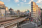 Street scene at Ueno train station at sunset, Tokyo, Japan