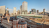 View of Tokyo Central Station and the skyline of Marunouchi, Tokyo, Japan