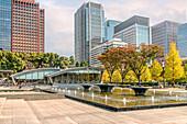 Wadakura Fountain Park in autumn, Marunouchi, Tokyo, Japan