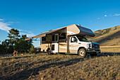 Camping north of Yellowstone National Park, Montana, USA