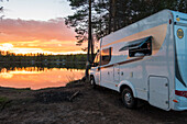 Sunset on the lake near Rovanjemi, Finland
