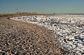 Walk with ice floes on the beach in Schillig, Wangerland, Friesland, Lower Saxony, Germany, Europe