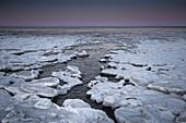 Ice floes on the beach at dusk, Schillig, Wangerland, Friesland, Lower Saxony, Germany, Europe