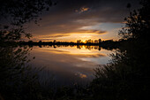 Sunset at Accumer See, Schortens, Friesland, Lower Saxony, Germany, Europe