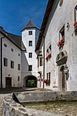 Inner courtyard of the Höglwörth monastery, Chiemgau, Bavaria, Germany