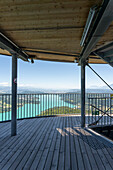 Observation tower Pyramidenkogel with a view of the Wörthersee, Carinthia, Austria