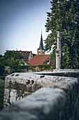 Bridge over the Rodach with a view of the medieval town of Sesslach in the Upper Franconian district of Coburg