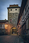 View of the Geiersberg city gate of the medieval town of Seßlach in the Upper Franconian district of Coburg