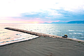 Albania, Southern Europe, off-road vehicle with roof tent on the Mediterranean Sea, Adriatic Sea, pier, jetty