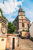 Church square in front of Petrikirche in Kulmbach, Bavaria, Germany