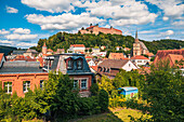 Shooting trench with a view of Plassenburg in Kulmbach, Bavaria, Germany