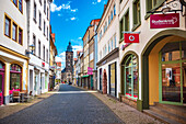 Marktstrasse with a view of Margarethenkirche in Gotha, Thuringia, Germany