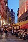 Barfußgaesschen, Drallewatsch, street cafes, Old city Center, Leipzig, Saxony