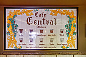 Coffee variations in Cafe Central, Solo, Largo, Malaga, Costa del Sol, Malaga Province, Andalusia, Spain, Europe