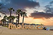 Lettering Malagueta, sandy Malaga beach, Costa del Sol, Malaga Province, Andalusia, Spain, Europe