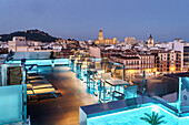 Hotel roof terrace, view of the old town of Malaga, Costa del Sol, Malaga Province, Andalusia, Spain, Europe