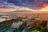 Sunset in Malaga, Costa del Sol, Malaga Province, Andalusia, Spain, Europe