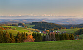 View from Dachsberg - Finsterlingen over Dachsberg - Hierbach to the Swiss Alps, Hotzenwald, Southern Black Forest, Black Forest, Baden-Wuerttemberg, Germany, Europe