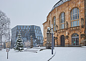 View of city theater and university library in snow, Freiburg, Breisgau, Southern Black Forest, Black Forest, Baden-Wuerttemberg, Germany, Europe