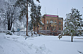 View of the Colombischlössle in the Colombipark in snow, Freiburg, Breisgau, Southern Black Forest, Black Forest, Baden-Wuerttemberg, Germany, Europe