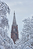 View from the Schlossberg to the tower of the minster 'Unserer lieben Frau' in snow, Freiburg, Breisgau, Southern Black Forest, Black Forest, Baden-Wuerttemberg, Germany, Europe