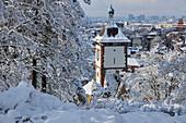 View from Schlossberg to Schwabentor in snow, Freiburg, Breisgau, Southern Black Forest, Black Forest, Baden-Wuerttemberg, Germany, Europe