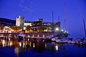 At the harbor with castle, Torri del Benaco, east bank, Lake Garda, Veneto, Italy