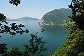 View from the mountain on Monte Isola, Lake Iseo, Lombardy, Italy
