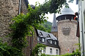 Old town tower in Traben-Trabach on the Moselle, Hunsrück, Rhineland-Palatinate, Germany