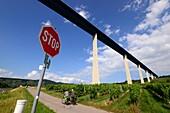 Road bridge at Zeltingen-Rachtig on the Moselle, Hunsrück, Rhineland-Palatinate, Germany