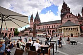At the cathedral of Mainz, Rhineland-Palatinate, Germany