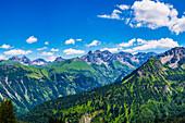 Panorama from Fellhorn, 2038m, to the Allgäu main ridge, Allgäu, Allgäu Alps, Bavaria, Germany, Europe