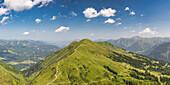 Panorama from the Kanzelwand, 2058m to the Fellhorn, 2038m, Oberallgäu, Allgäu, Bavaria, Germany, Europe