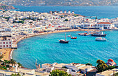 Mykonos Town, elevated view, Mykonos, Cyclades Islands, Greece