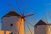 Windmills Kato Mili at sunset, Mykonos Town, Mykonos, Cyclades Islands, Greece