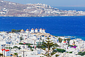Mykonos Town and old harbour, elevated view, Mykonos, Cyclades Islands, Greece