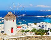 Boni's Windmill overlloking Mykonos Town, Mykonos, Cyclades Islands, Greece
