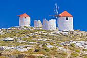 Traditional windmills, Chora, Amorgos, Cyclades Islands, Greece