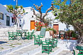 Streetside cafe, Amorgos, Cyclades Islands, Greece