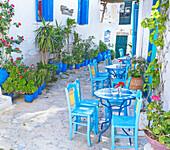 Streetside cafe, Amorgos, Cyclades Islands, Greece,