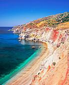 Top view of the volcanic beach of Paleokori, Milos, Cyclades Islands, Greece, Europe