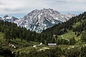 View of the Watzmann massif from the Schneibsteinhaus, Berchtesgaden Alps, Bavaria, Germany