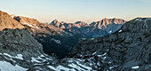 Sunrise in the Hagen Mountains with a view of the Watzmann and Steinernen Meer, Berchtesgaden Alps, Bavaria, Germany