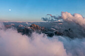 View to the Great Dog Death at dusk, Berchtesgaden Alps, Bavaria, Germany