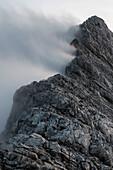 The ridge to the Steintalhörnl in the fog, Berchtesgaden Alps, Bavaria, Germany