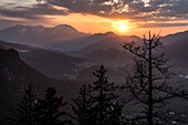 Sunset on the Falkenstein with a view towards Hochfelln, Chiemgau Alps, Inzell, Bavaria, Germany