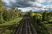 S-Bahn line to Munich Airport, Hallbergmoos, Bavaria, Germany