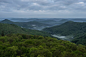 Morning view over the Palatinate Forest from the Luitpold Tower, Hermersbergerhof, Rhineland-Palatinate, Germany